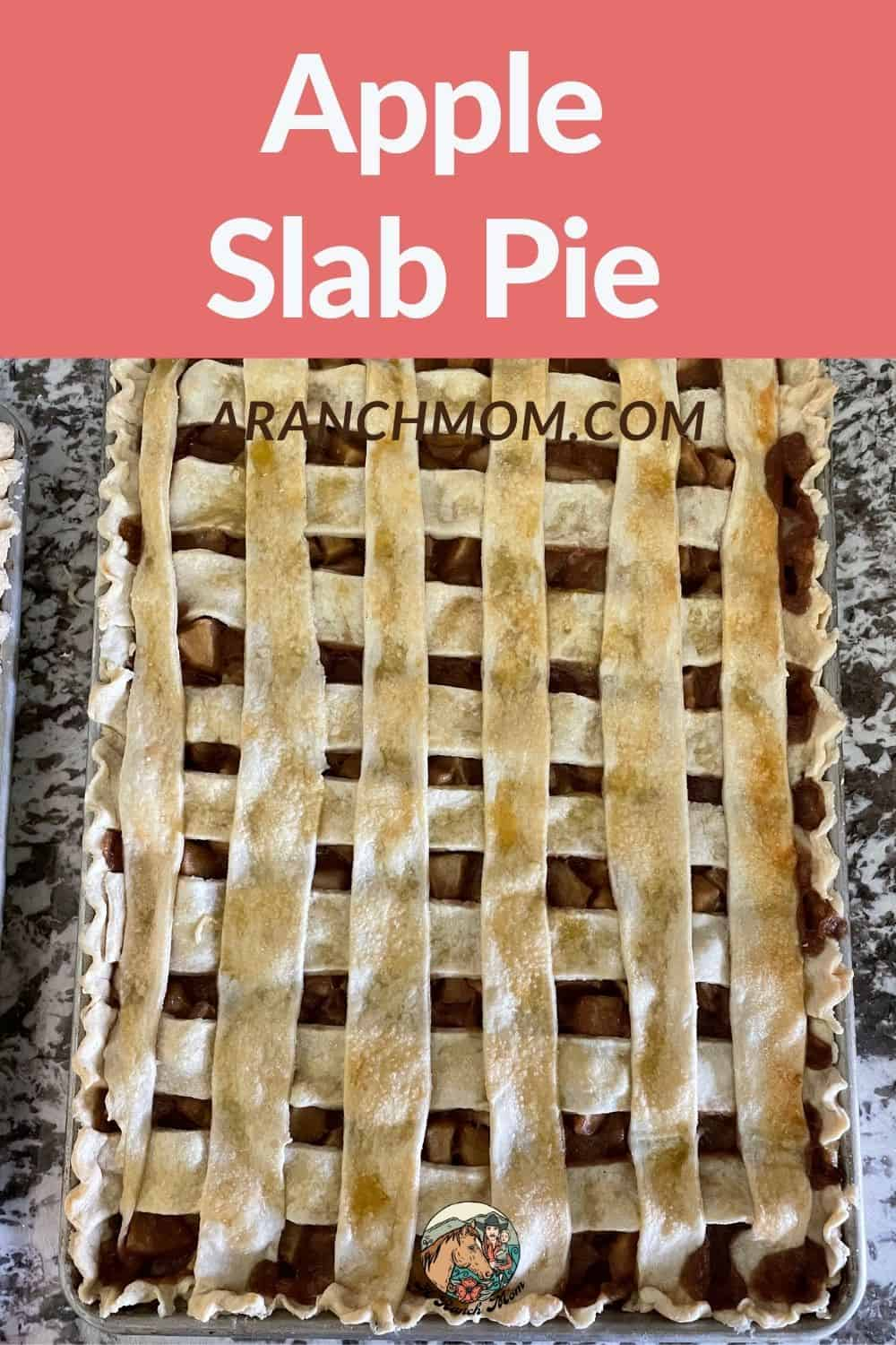 apple pie with text overlay for pinterest