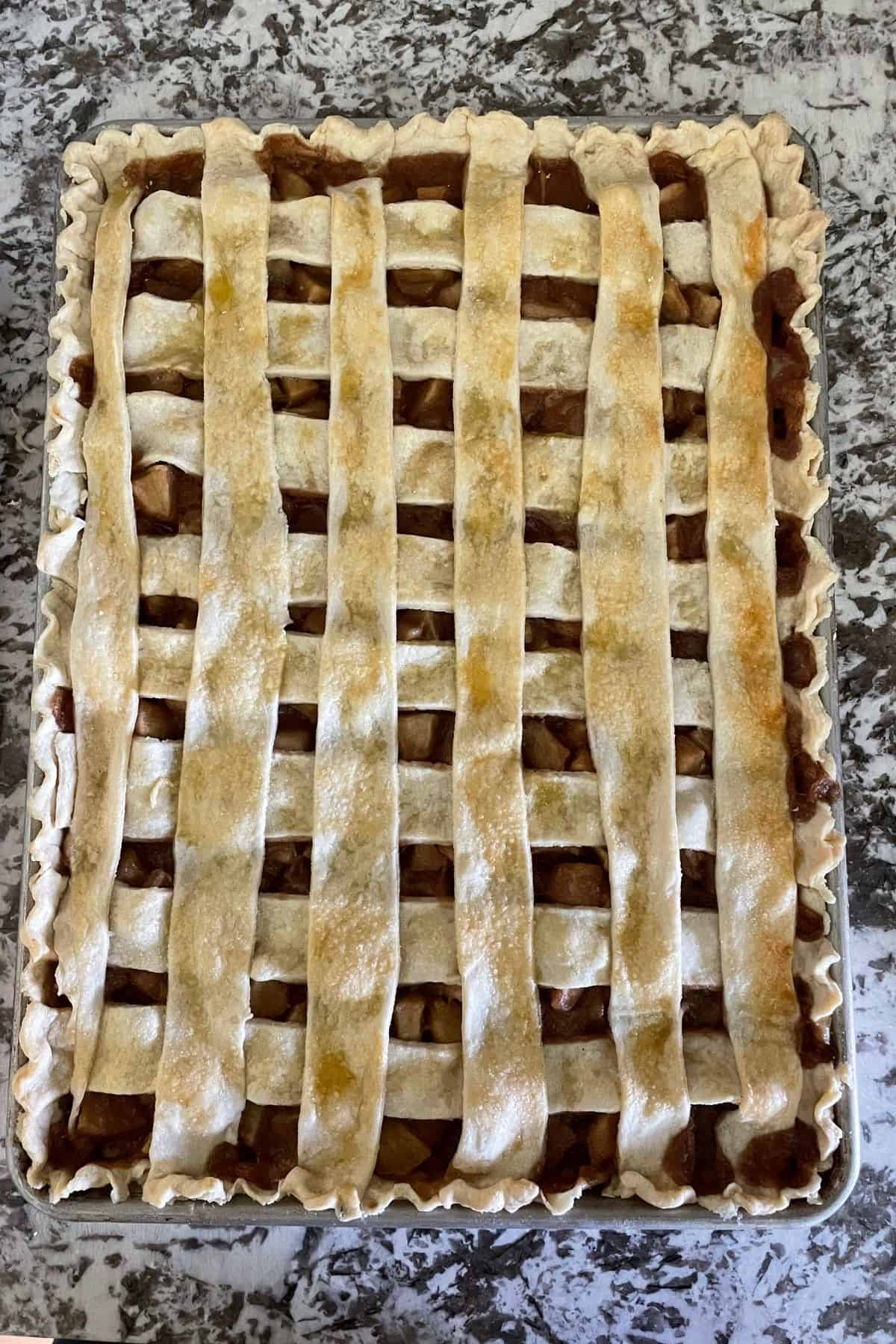 baked apple slab pie with lattice top