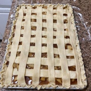 unbaked apple slab pie with lattice crust