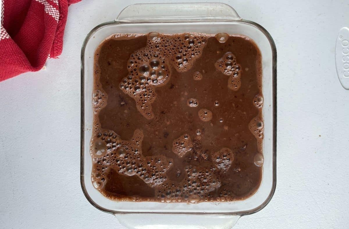 Chocolate pudding cake unbaked